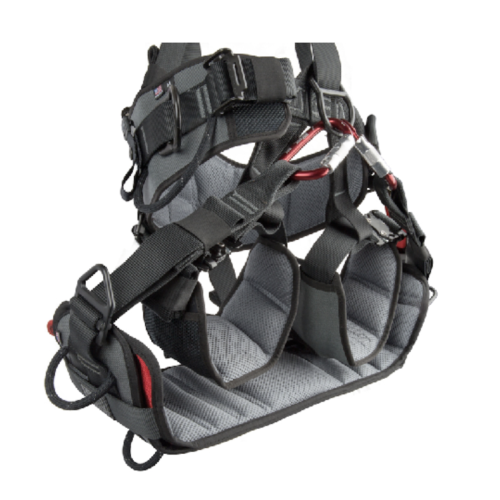 Skysaddle connected to a harness